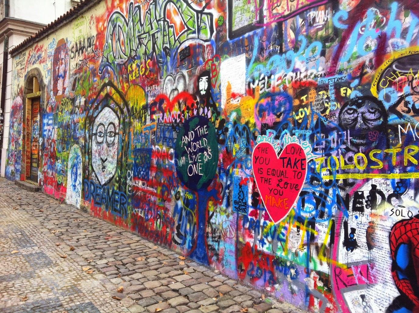 Graffiti on a hidden street in Prague