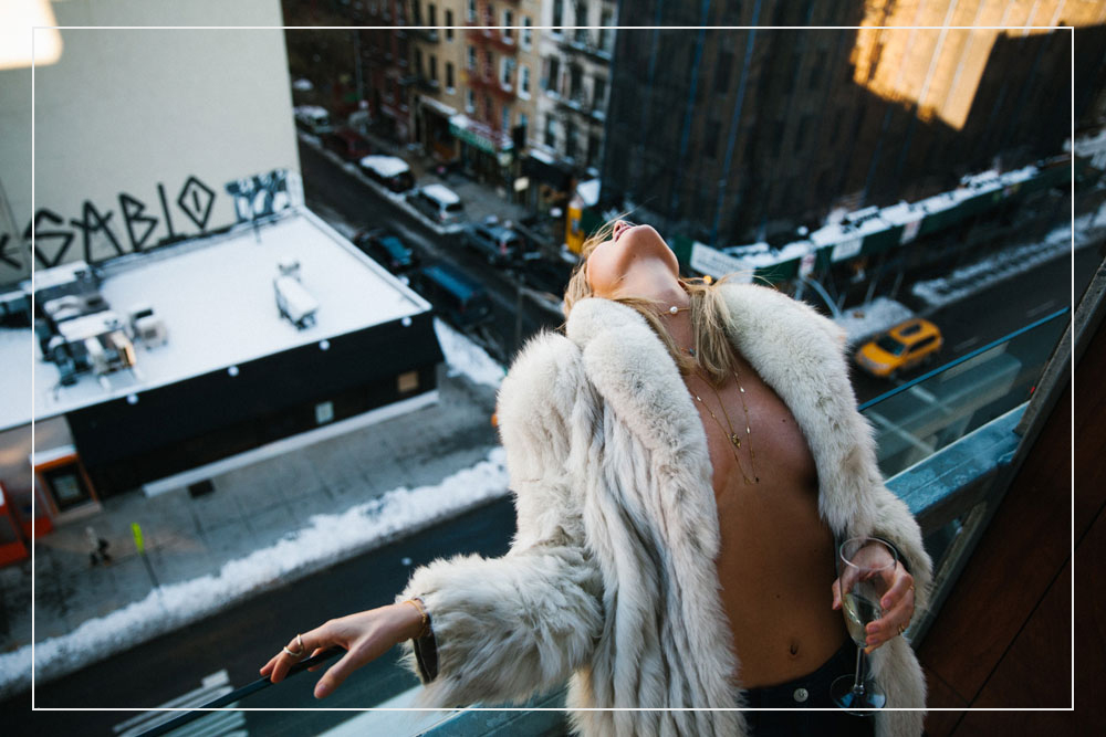 Layered Jewelry Pearl Choker Gold Necklaces Fur Coat Model Manhattan Photography New York City Jen Senn Style Inspiration || Allegory of Vanity
