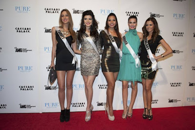 (L-R) Miss Turkey Cagil Ozge Ozkul, Miss Peru Nicole Faveron, Miss Guam Alyssa Cruz Aguero, Miss Greece Vasiliki Tsirogianni, and Miss Hungary Agnes Konkoly arrive at Caesars Palace in Las Vegas, Nevada December 9, 2012