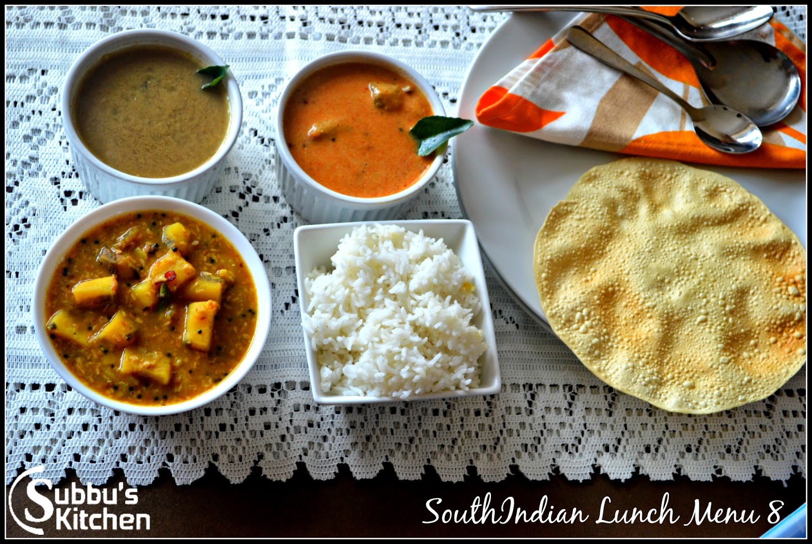 South Indian Lunch Menu 8 - Thengai Araitha Kuzhambu, Vazhakaai Puliyita Kootu, Poondu Rasam and Pappad