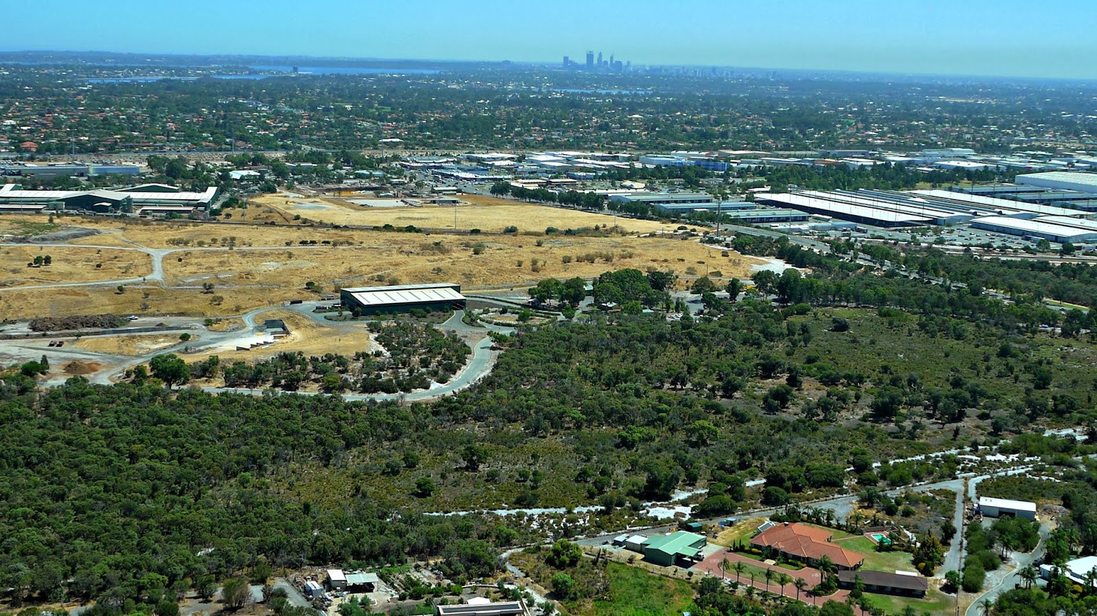 View from the air of Perth City Western Australia