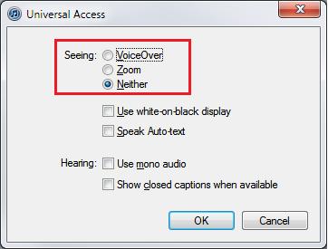 Desactiva el Voice Over dándole a ninguno