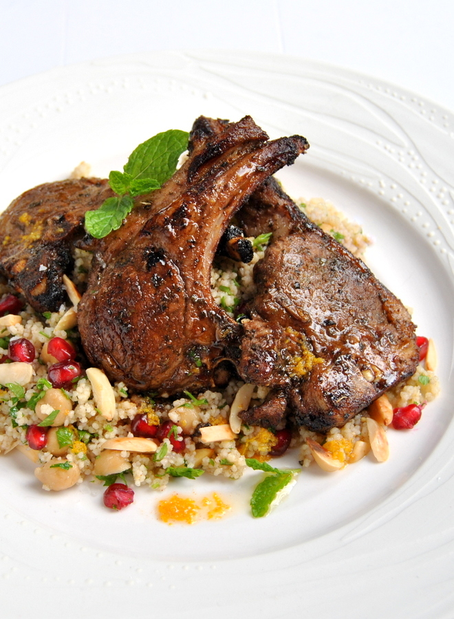 Moroccan-Spiced Lamb Chops with Citrus Couscous salad. Plate by David ...