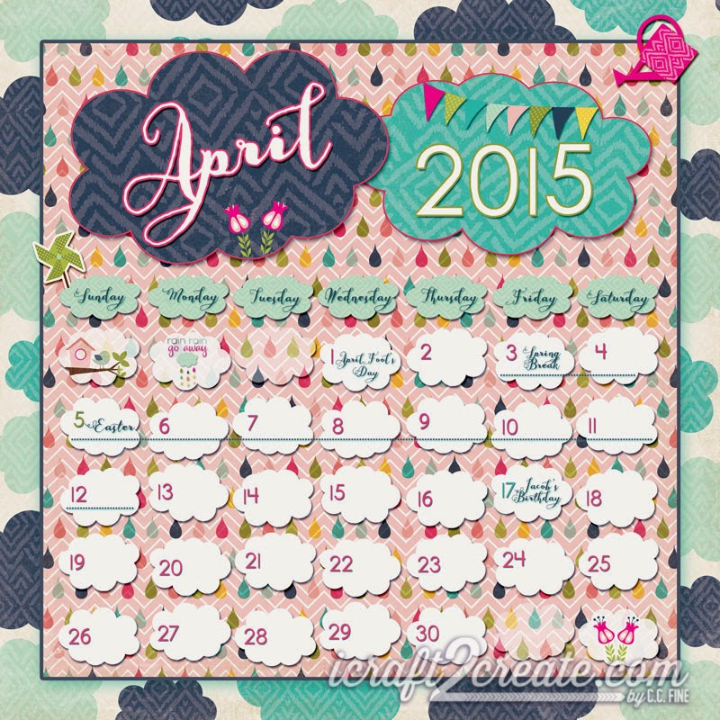 digital, calendar, photoshop, april, clouds, spring, rain, Echo Park, Splendid Sunshine, Aishart Extended