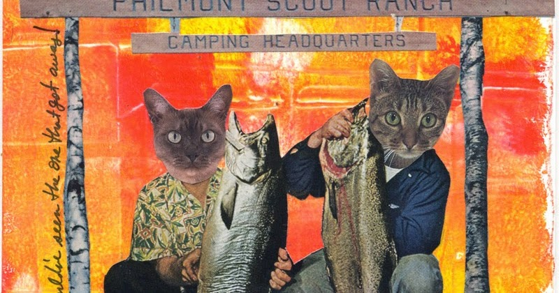 Creative upcycling mixed media for Cats go fishing