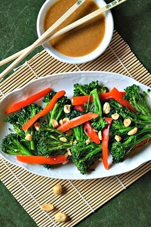 Spicy Stir Fried Broccoli and Peanut Sauce  @ Pure Grace Farms