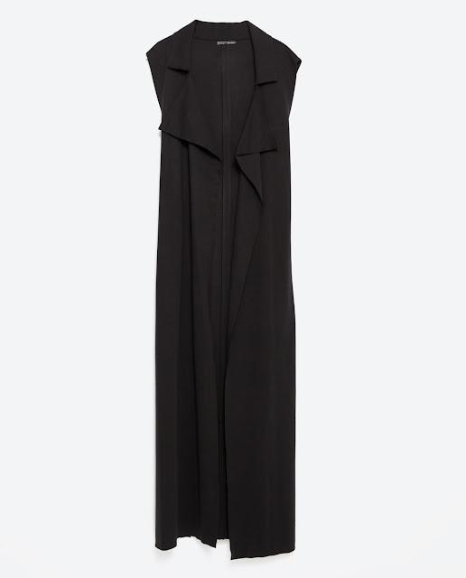 tenue de soirée chic classe noir et blanc robe jus d'orange gilet long zara