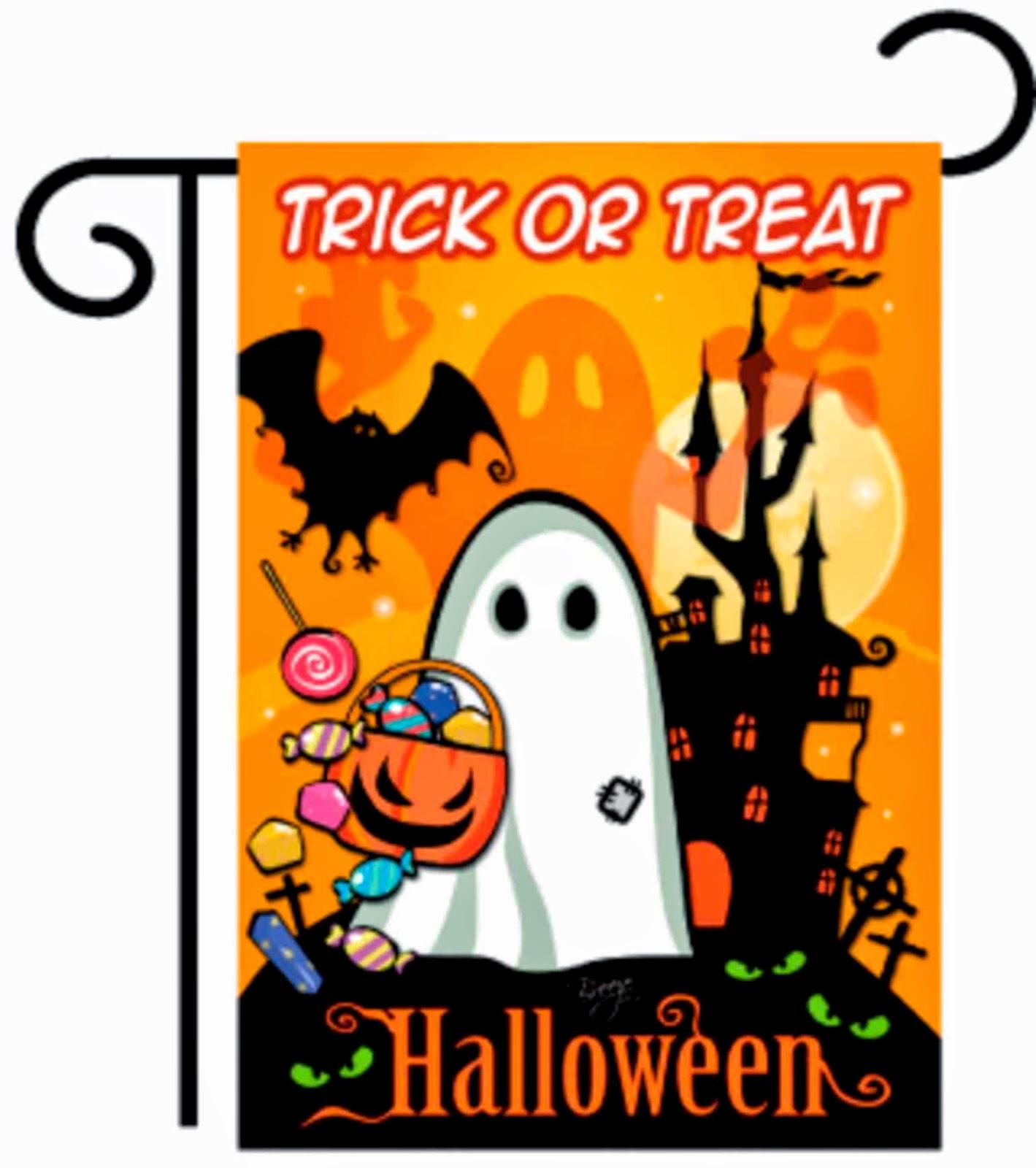 little ghost halloween garden flag