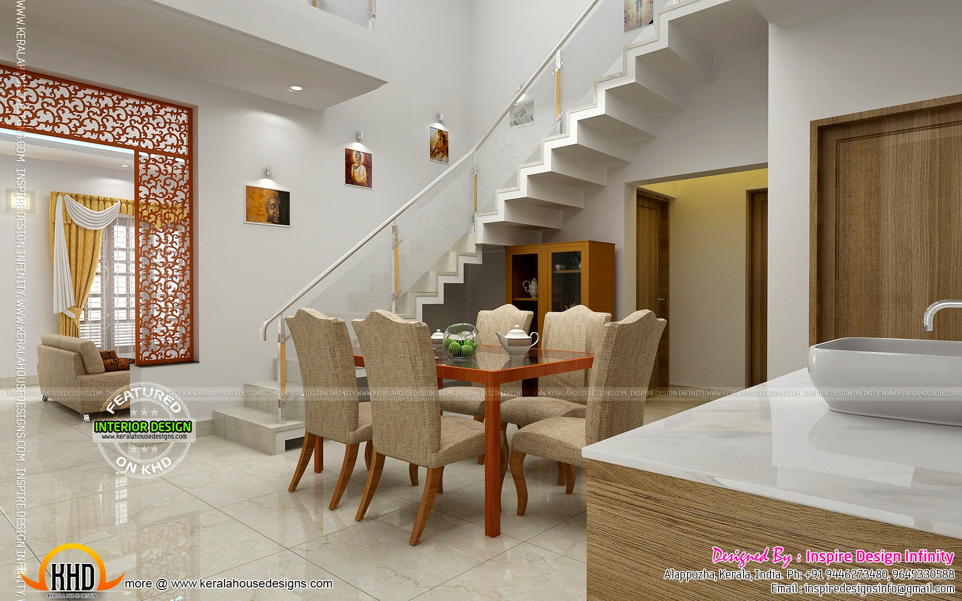 Dining room designs kerala home design and floor plans for Kitchen dining hall design