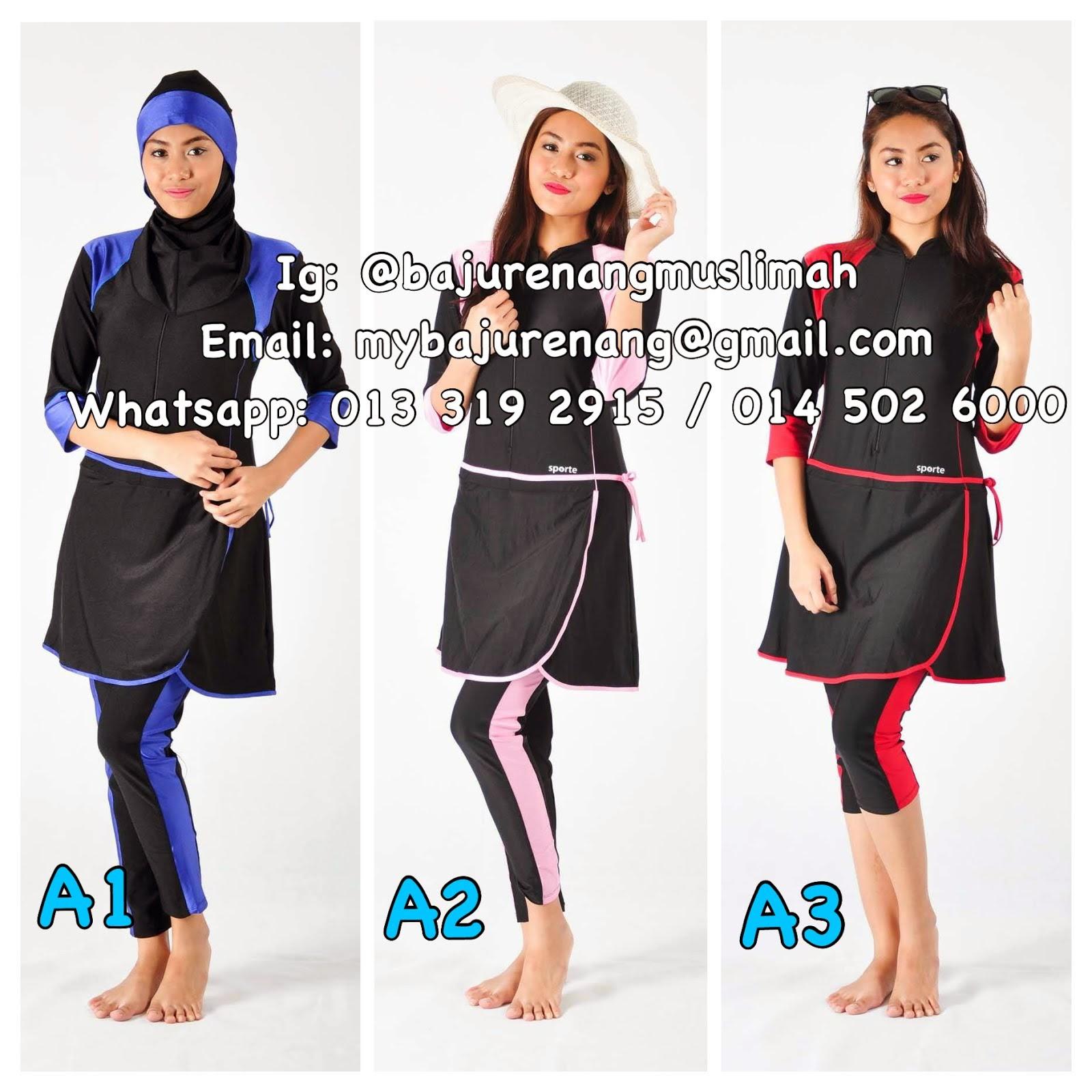 Baju Renang Lengan/Seluar 3 Suku (Design A1, A2 & A3)