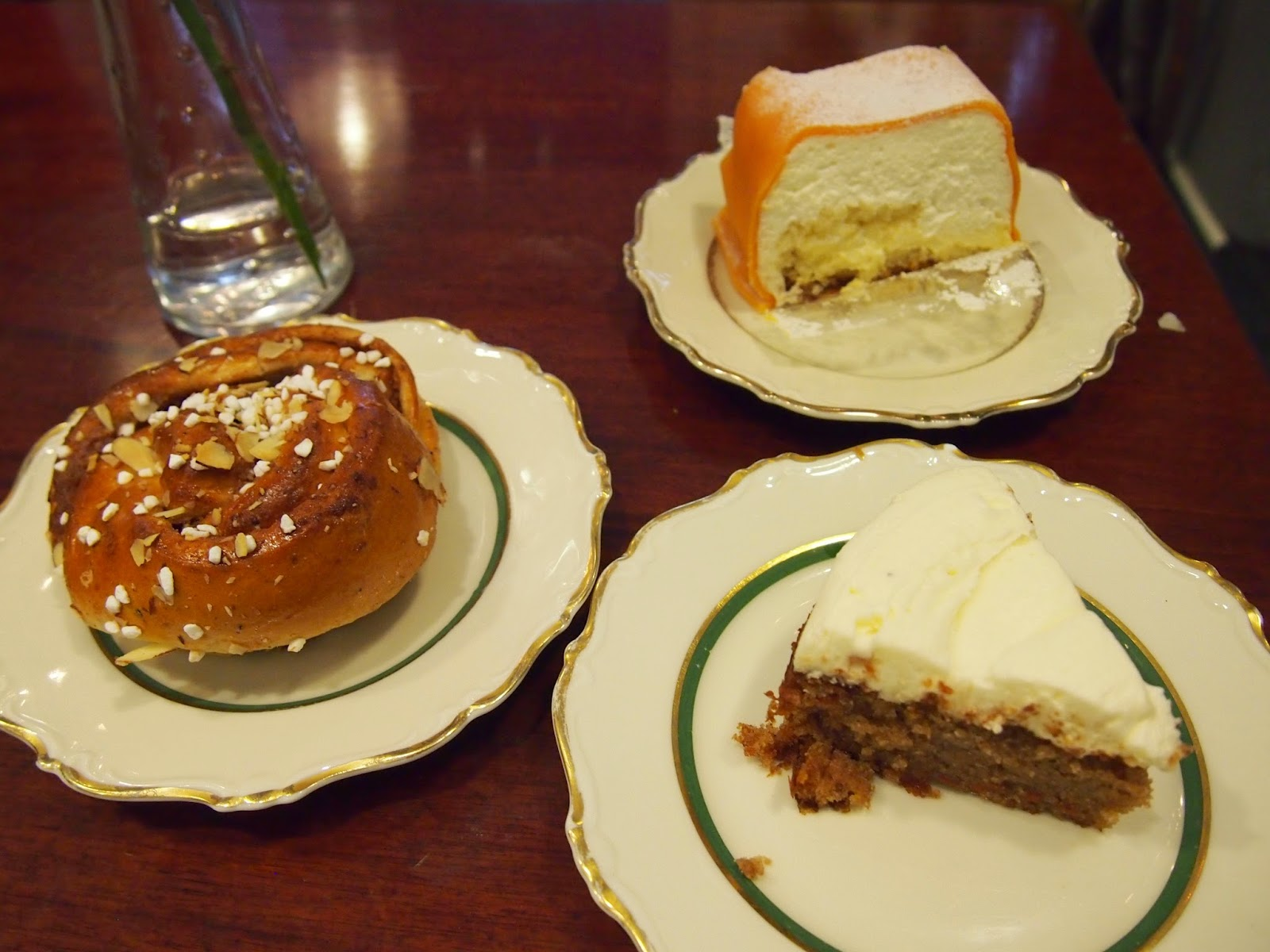 princess cake, cinnamon bun, and carrot cake from Ambrosia cafe in Malmo