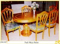 Kursi dan Meja Makan Ukiran Kayu Jati Padi Meja Bulat