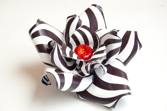 Black and White Mod Rose Hair Flower Fascinator