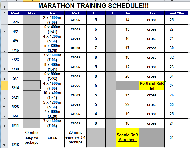 Marathon Training Calendar | New Calendar Template Site