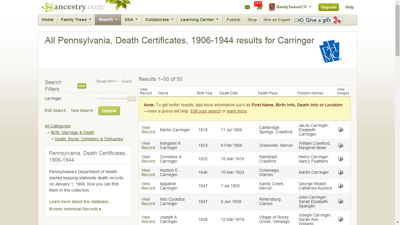 Genea musings finding genealogy gems in pennsylvania death carringer cousins died in pennsylvania in this time period i added carringer to the last name field in the screen above and clicked on search aiddatafo Image collections