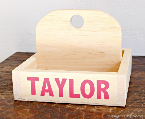 diy personalized wood caddy