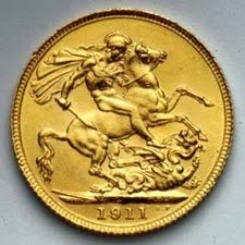 "La "" gold sovereign ""  (""sterlina d'oro"" in Italia)"