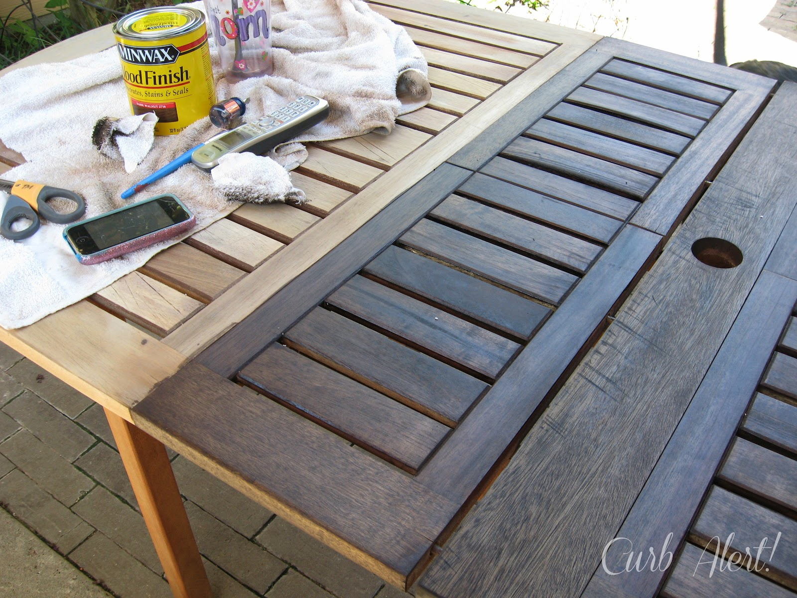Curb Alert Stained Outdoor Wood Table