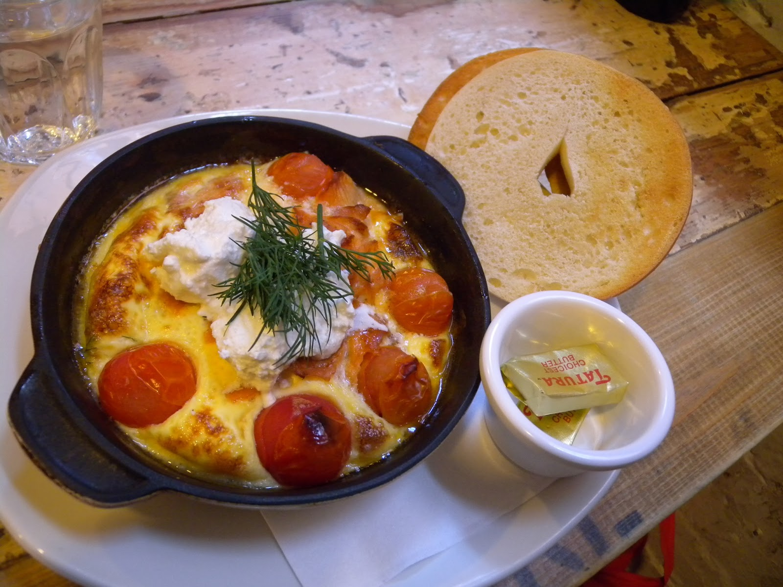 ... Baked egg scramble with salmon, fetta, cherry tomatoes and dill $16