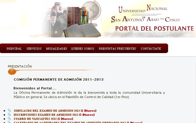 Resultados Simulacro a la UNSAAC 2012 II