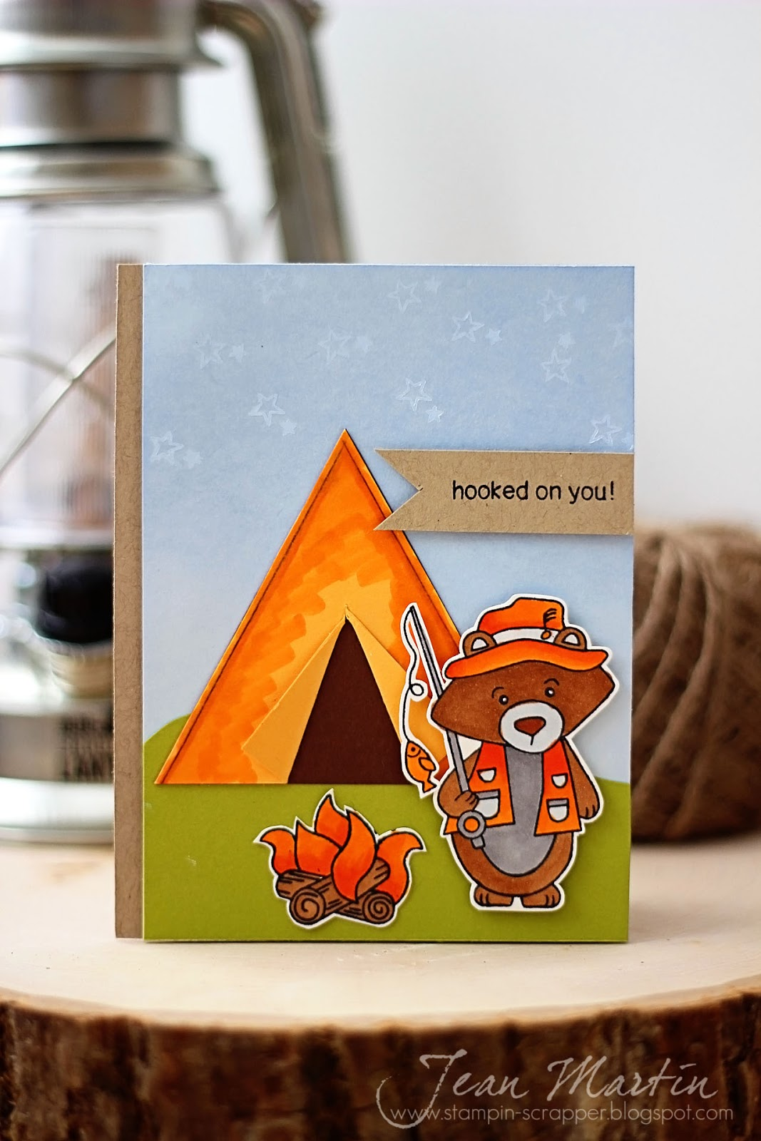 Fishing Bear Card using Campfire Tails Stamp set by Newton's Nook Designs