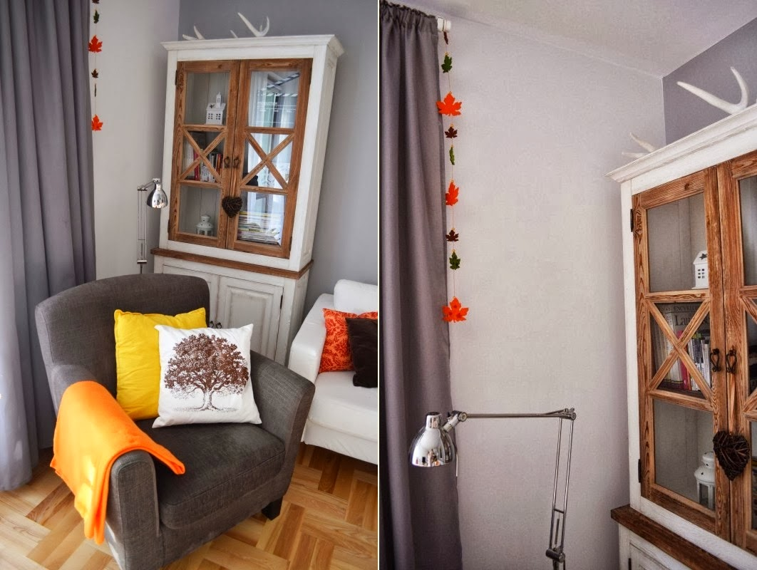 dekoracje jesienne szary salon
