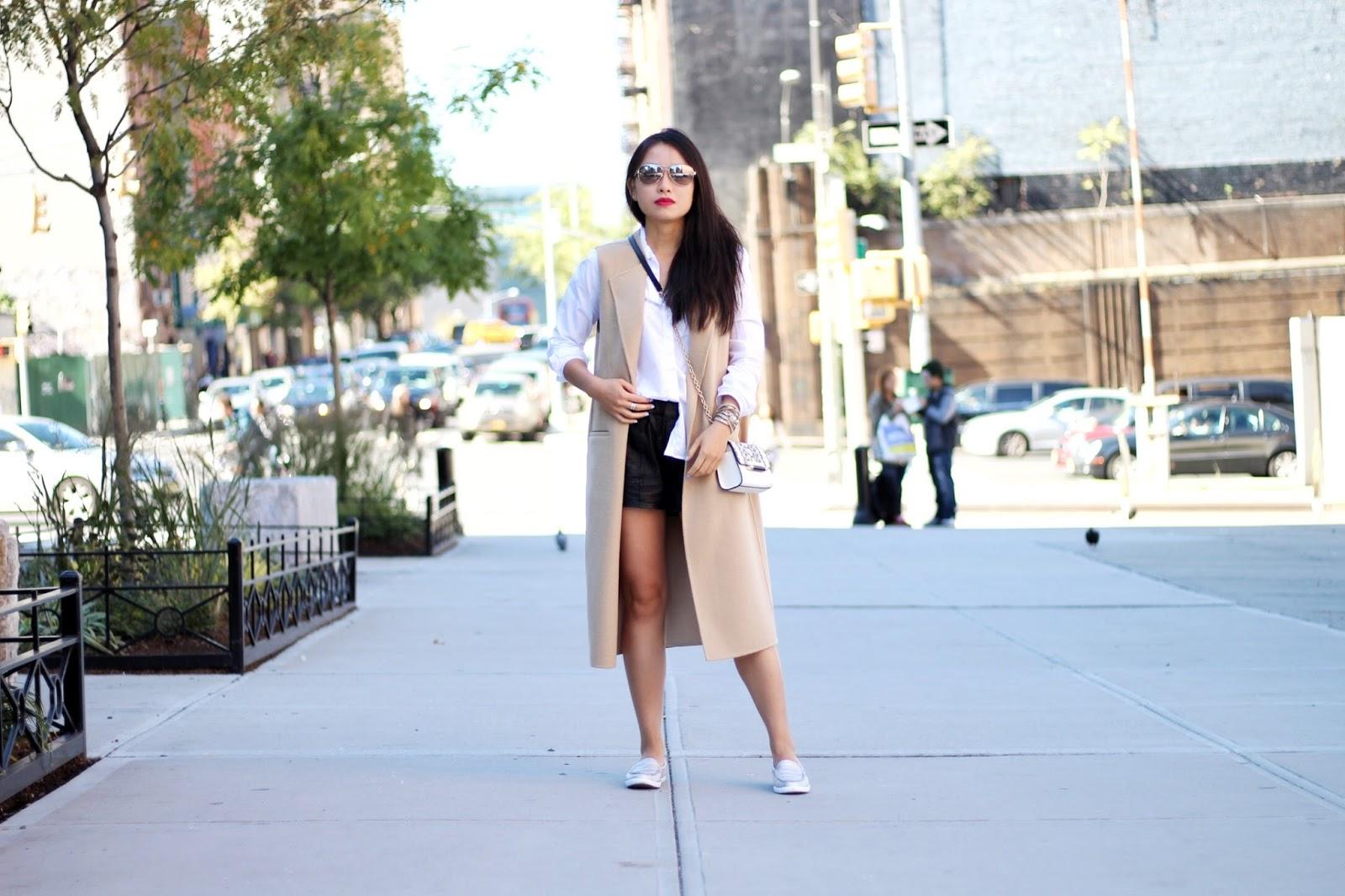 Zara camel waistcoat ALC leather shorts Cole Haan silver nantucket loafers