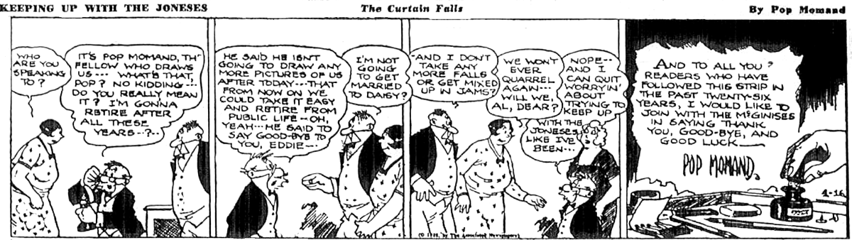 Farewell from Keeping Up With The Joneses, April 16 1938