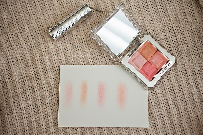 Swatches of the Jill Stuart Mix Blush Compact
