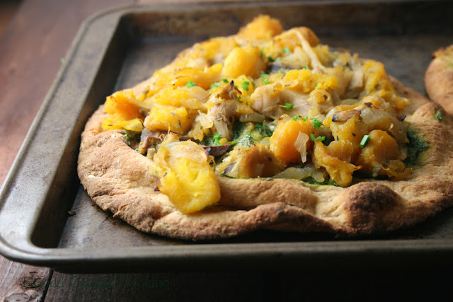 Caramelized Onion, Butternut Squash, Mushroom and Thyme Pizza with Garlic Chive Pesto