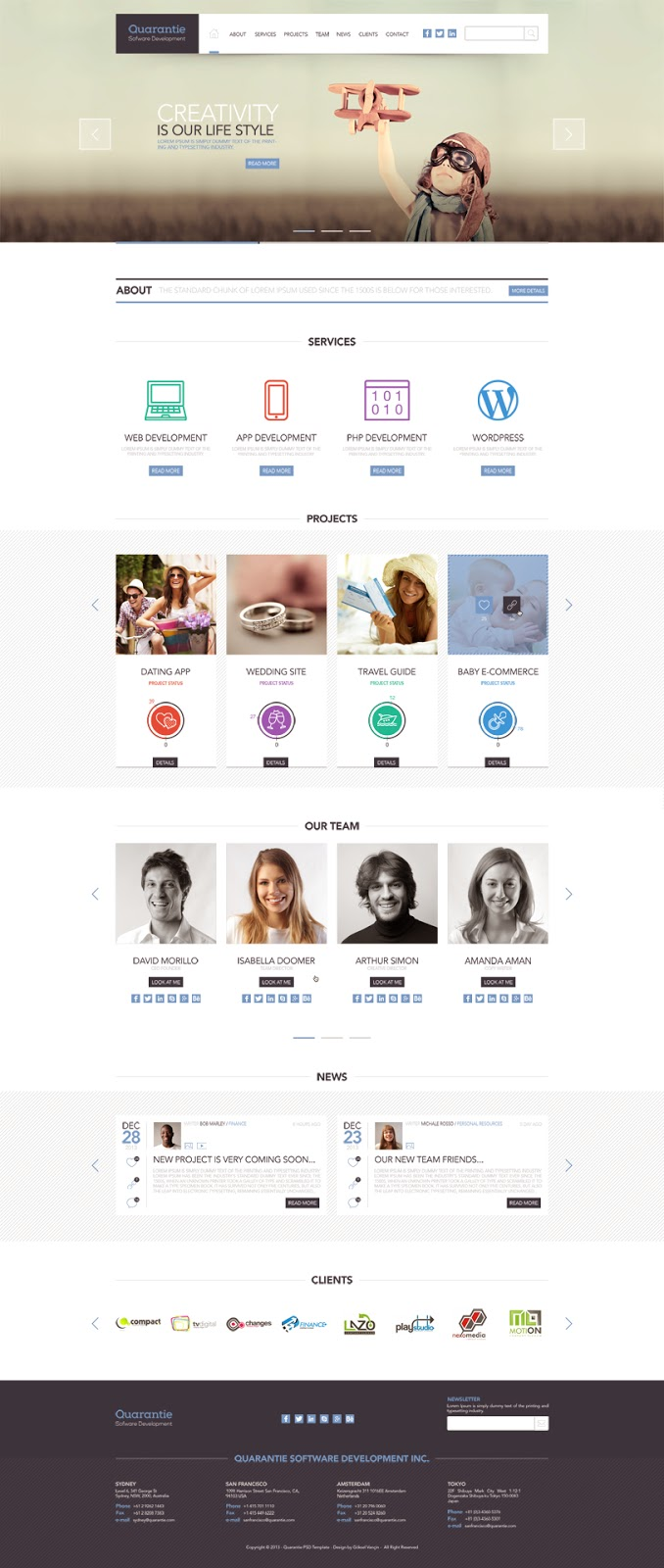 Free Clean and Modern PSD Template