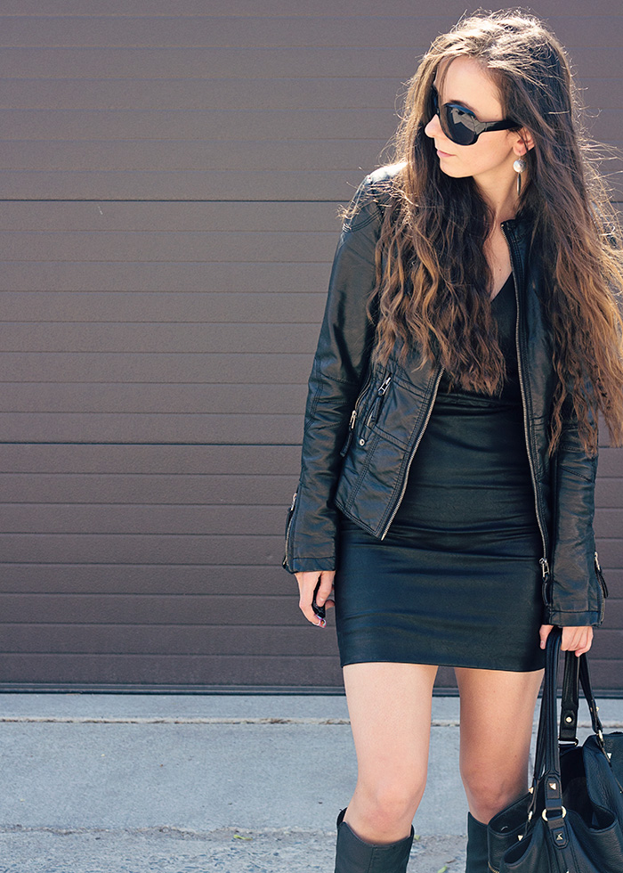 Black-leather-dress-and-jacket
