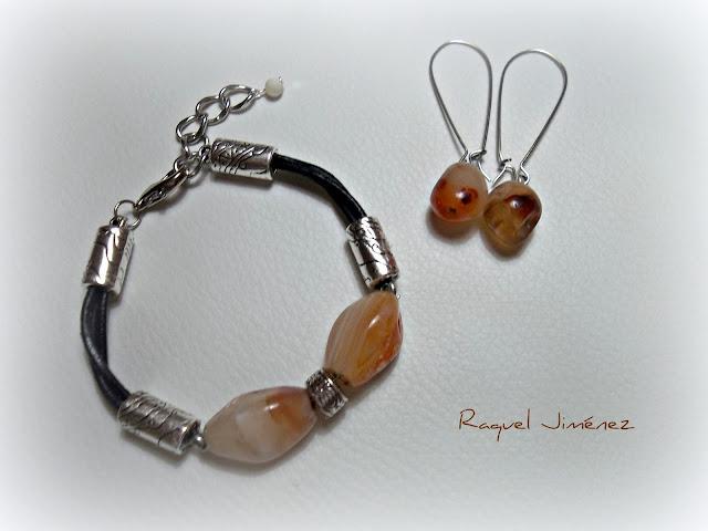 pulsera y pendientes  piedra