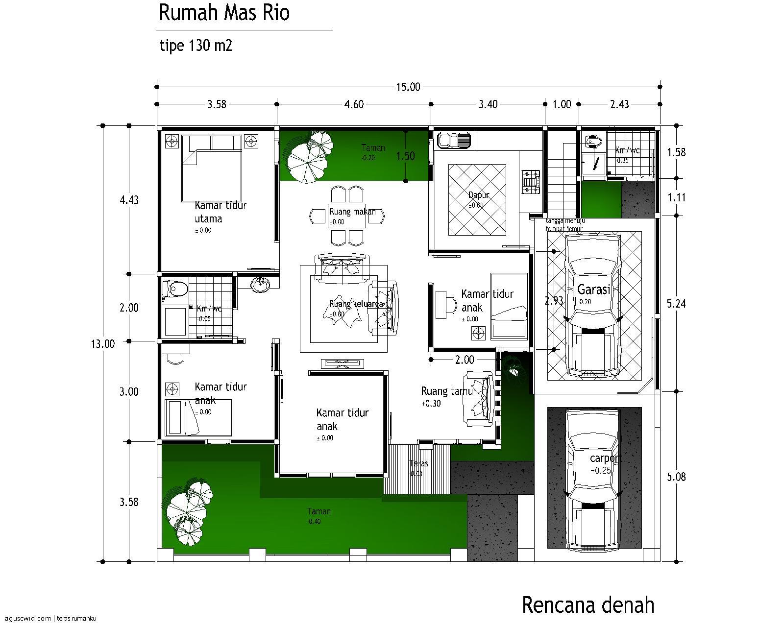 contoh denah rumah minimalis bagus