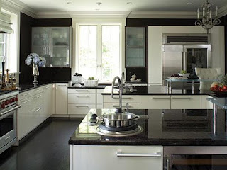 black white kitchen cabinets with granite