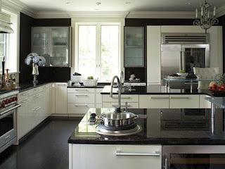 black white kitchen cabinets with granite