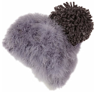 LIGHT PURPLE MARABOU BOBBLE HAT