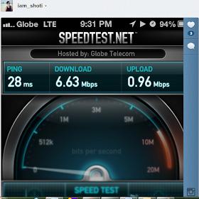 Globe iPhone 5 LTE Speed Test Sample