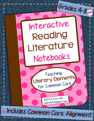 http://www.teacherspayteachers.com/Product/Interactive-Reading-Literature-Notebooks-Literary-Elements-for-Common-Core-4-8-745824