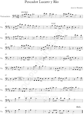 Partitura de Pescador Lucero y Río de José Alejandro Morales Partitura de Violonchelo, Fagot, Trombón, Bombardino, Tuba elicón e instrumentos musicales de Clave de Fa...Partitura de Música Colombiana por nuestro colaborador