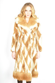 Vintage 1970's bohemian style geometric print honey brown fur princess coat.