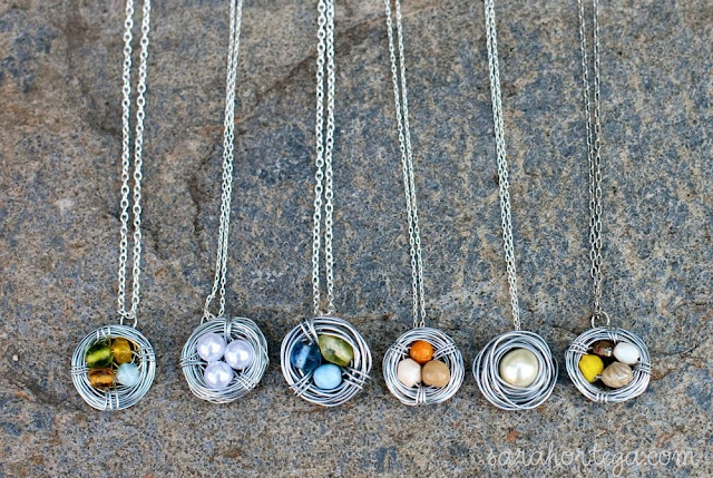 Diy bird nest necklace just to show you the difference between the 20 and 24 gage aloadofball Choice Image