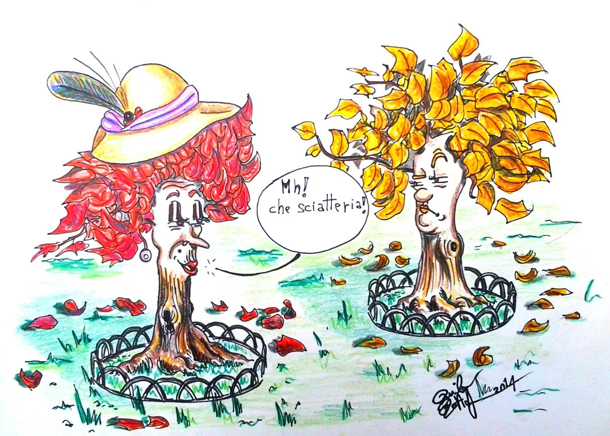 colore foglie autunno rosso giallo clorofilla carotenoidi antociani danilo battaglia vignetta