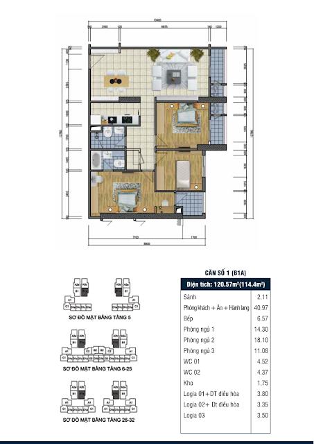 Thiết kế căn hộ số 1 - Chung cư Goldsilk Complex Vạn Phúc