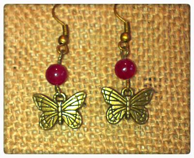 mariposa happy uky pendientes rojo