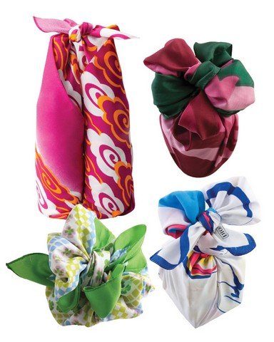 Embalagem com tecido ou lenço para presente