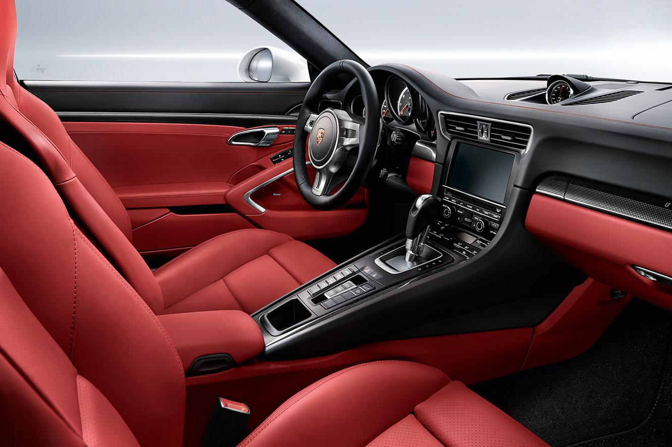 Porsche 911 turbo type 991 automotiv press for Interieur rouge