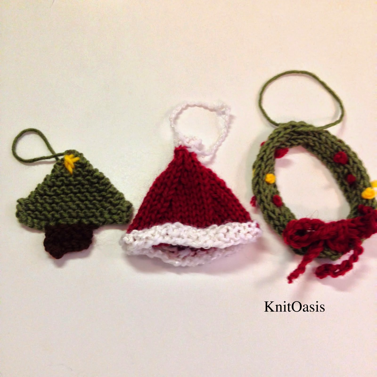Knitted Christmas Decorations To Buy : Knit oasis creations trio of knitted christmas ornaments
