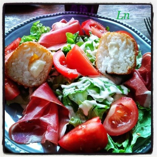 Keskonmangemaman salade l 39 italienne au jambon cru et aux arancini ma fa on boulettes de - Peut on donner du riz cuit aux oiseaux ...
