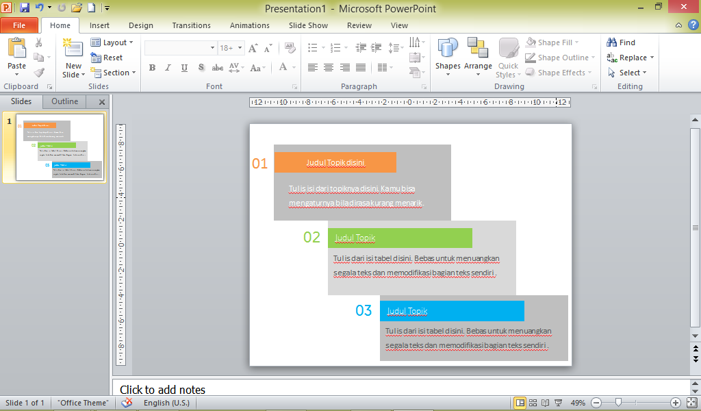 Cara membuat tabel yang bagus di Powerpoint